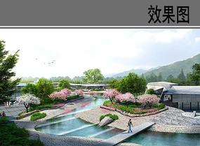 博物馆门前滨水广场景观效果图