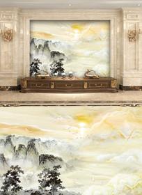 大理石山水水墨画背景墙