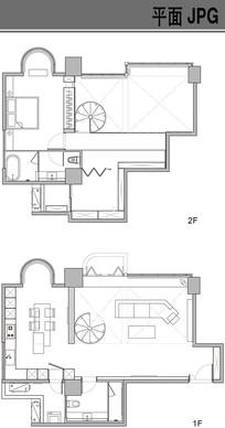 二层别墅户型平面图 JPG