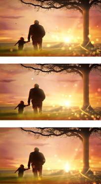感恩父亲树下父子背影背景视频