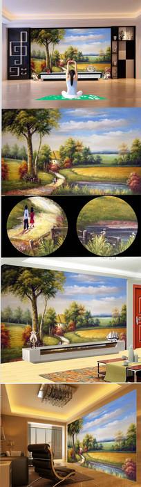 高清欧式公园流水麦田背景墙