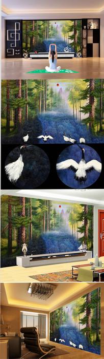 高清森林仙鹤油画背景墙