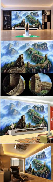 高清手绘万里长城背景墙