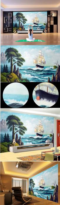 高清手绘一帆风顺油画背景墙