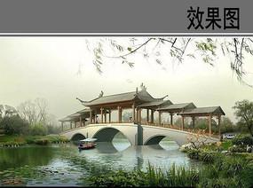 古建亭廊桥效果图
