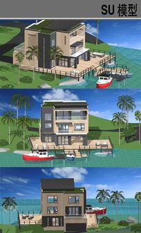 海边别墅建筑 skp