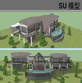 弧形屋顶别墅建筑