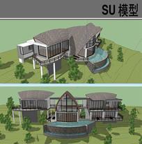 弧形屋顶别墅建筑 skp