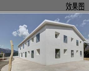 简约白色建筑效果图
