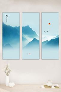 蓝色水墨山水画电视背景墙