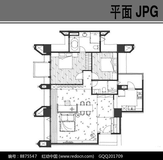 两室一厅手绘户型平面图