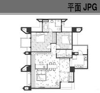 两室一厅手绘户型平面图 JPG