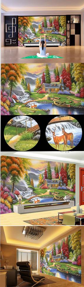 欧式花园小桥流水麋鹿背景墙