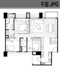 三室一厅户型图 JPG
