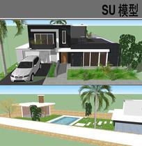 现代别墅模型 skp