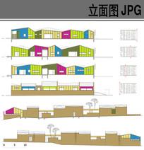 幼儿园建筑设计彩色立面图