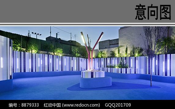 幼儿园建筑中庭雕塑夜景效果图片