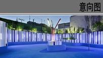 幼儿园建筑中庭雕塑夜景效果