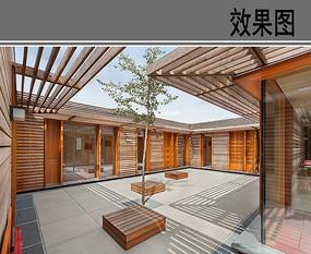 幼儿园建筑中庭空间透视图