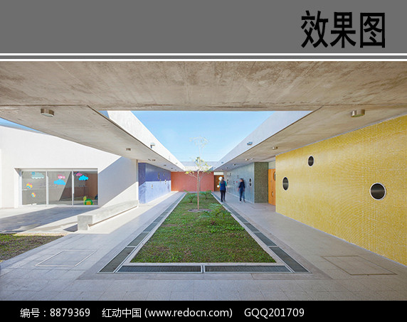 幼儿园建筑中庭透视图图片