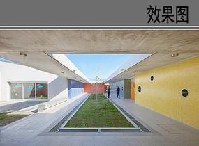 幼儿园建筑中庭透视图