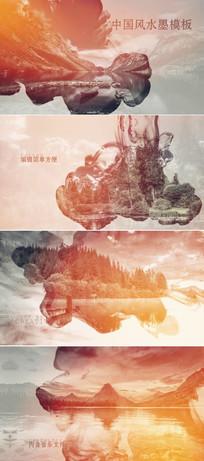 中国风水墨晕染图文展示模板