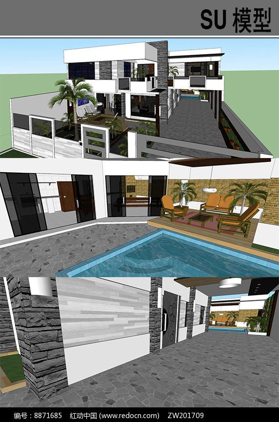 中式别墅建筑模型图片