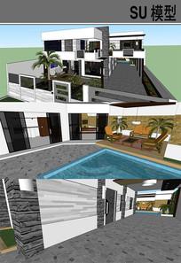 中式别墅建筑模型 skp