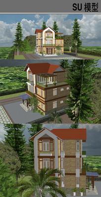 住宅别墅建筑 skp