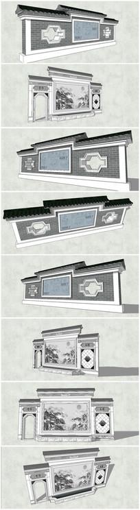 2款古典中式国画景墙su模型