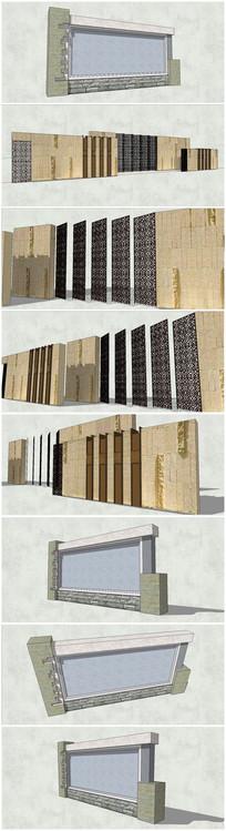 2款古典中式景墙su模型