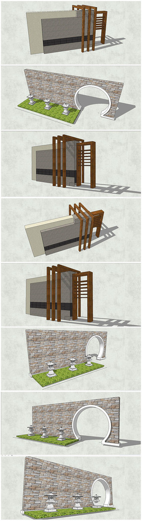 2款新中式景墙SU模型