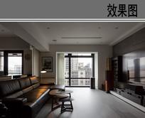 暗色系客厅设计效果图 JPG