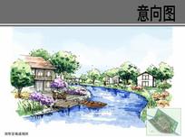 别墅景观手绘效果图