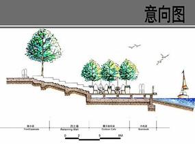 滨水空间设计断面图
