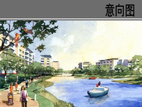 滨水住宅区手绘效果图