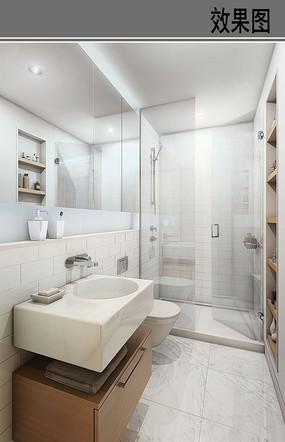 长条形洗手间效果图
