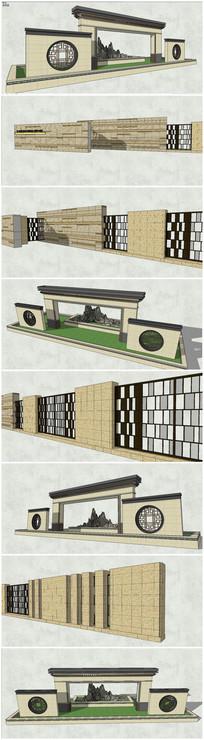 多款古典中式现代景墙SU模型