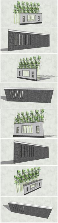多款新中式景观背景墙SU模型 skp