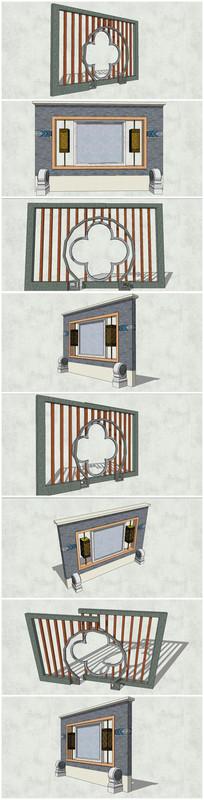 多款艺术造型景观墙SU模型