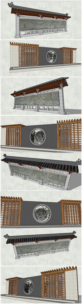 多款中式壁画景观墙SU模型
