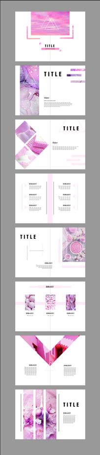粉红甜美少女心简约风画册设计