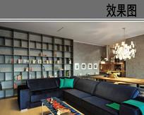 工业风格客厅效果图 JPG