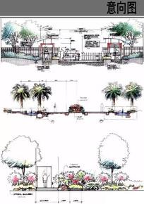 公园树池景观入口立面 JPG