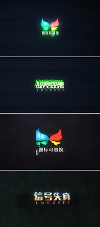 故障效果文字logo动画模板