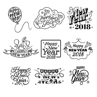 徽章新年文字设计模板图片