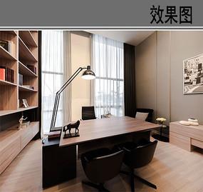简约现代书房设计效果图