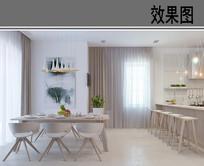 极简风餐厅厨房吧台效果图 JPG