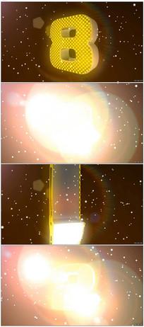 金黄3D旋转数字10秒倒计时 mov