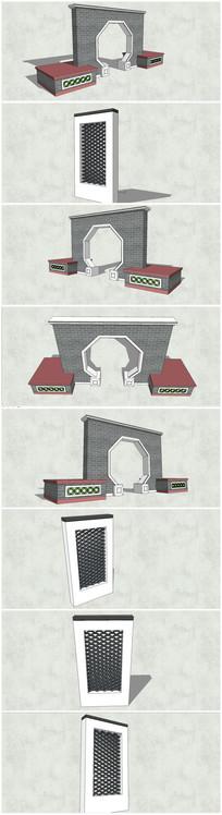 两款古典中式景墙su模型